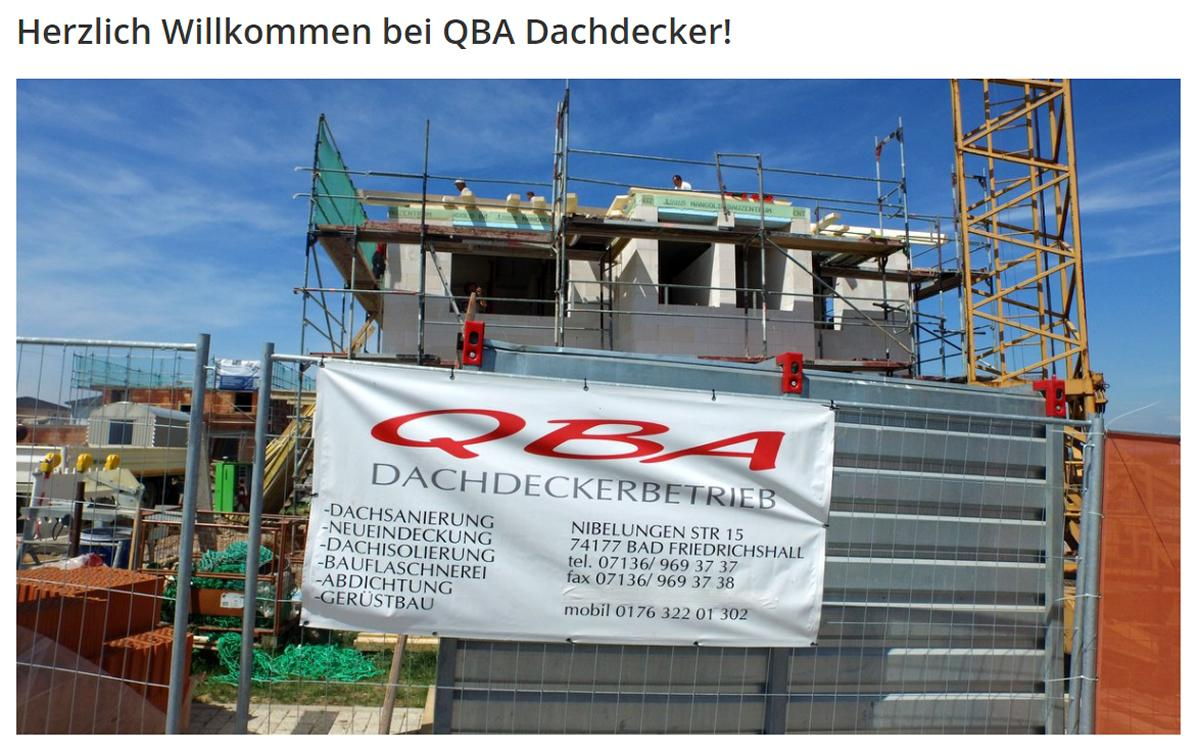 Dachdecker Alleshausen - QBA: Dachsanierung, Flachdachsanierung, Bauflaschnerei, Zimmerei, Gerüstbau